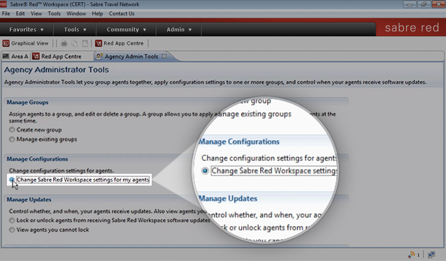 Within Agency Admin Tools, view Manage Configurations and Change Sabre Red Workspace settings for my agents.