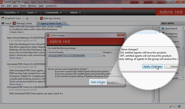 Within Agency Admin Tools, review and apply changes to the selected Red App.