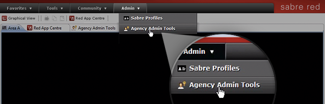 Within the workspace, select Agency Admin Tools from the Admin tab.